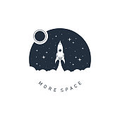 Hand drawn space badge with textured vector illustration.