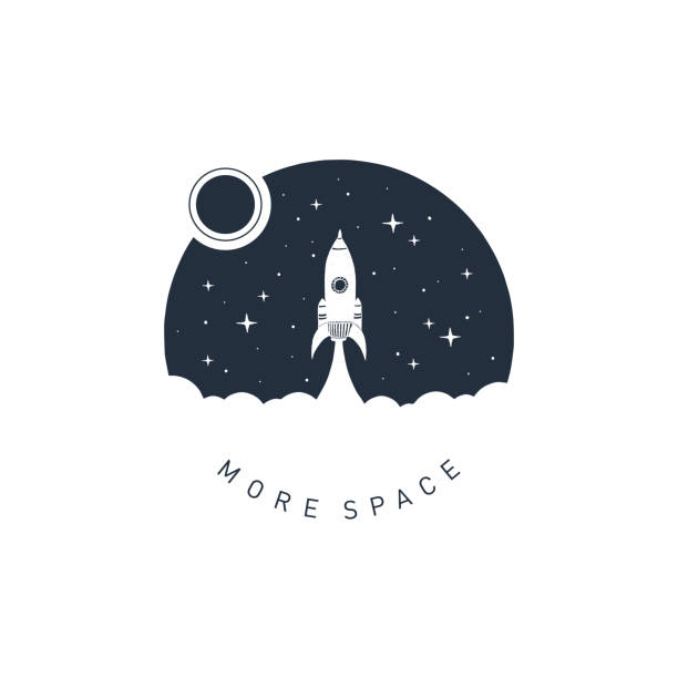 illustrations, cliparts, dessins animés et icônes de insigne d'espace dessiné main avec illustration vectorielle texturé. - rocket