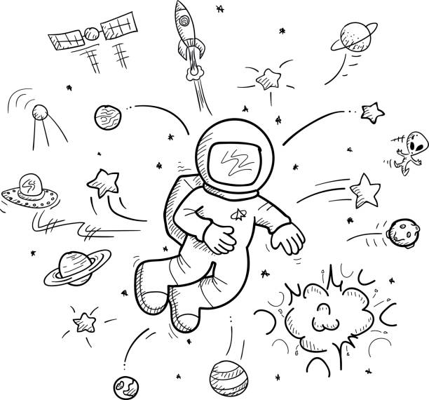 Hand drawn space collection vector art illustration
