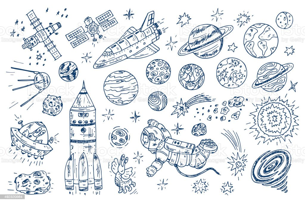 Hand Drawn Space Doodle Vector Set Royalty Free Stock