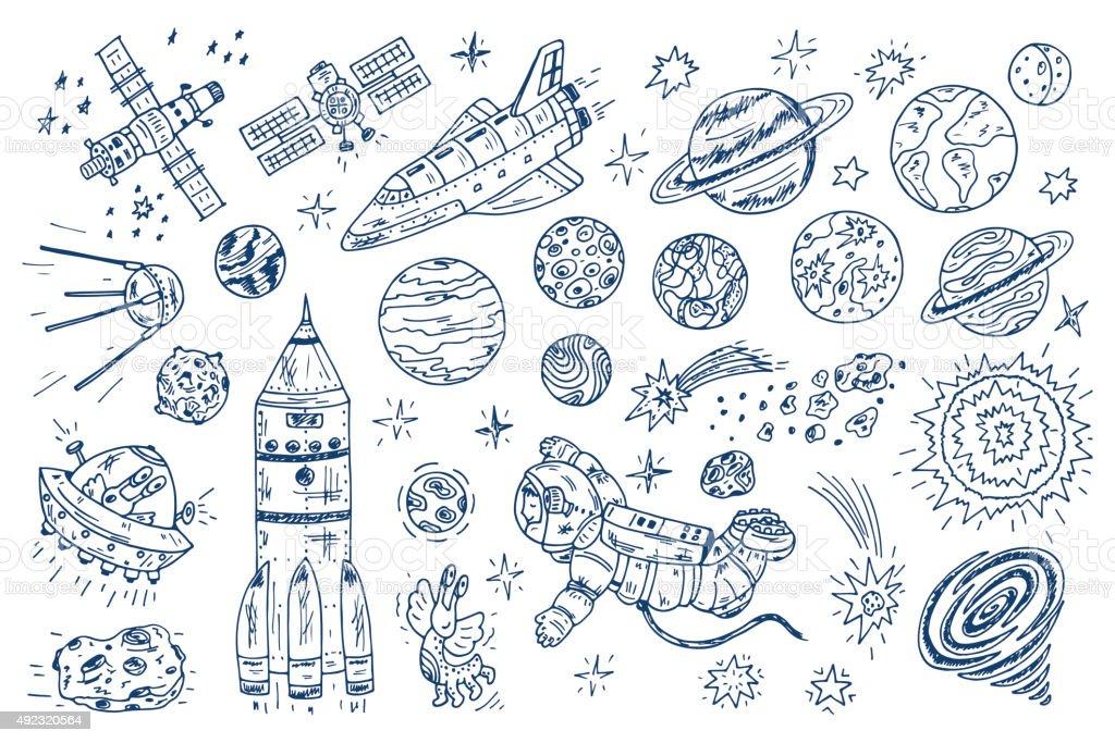 Hand drawn Space Doodle Vector Set vector art illustration