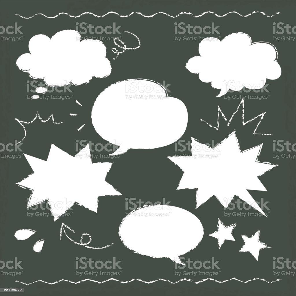 黒板に描かれた音声バルーン イラストを手します。 ベクターアートイラスト