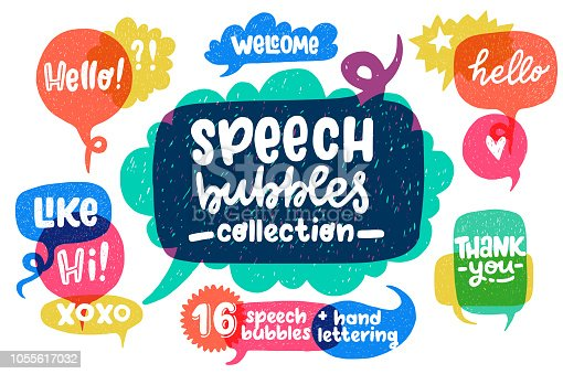 Big set of cool hand drawn speech bubbles and hand lettering essential words - Hello, Hi, Welcome, etc. Vector cartoon comic bubbles.