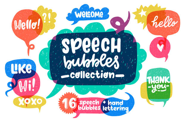 Hand drawn speech bubbles set and lettering Big set of cool hand drawn speech bubbles and hand lettering essential words - Hello, Hi, Welcome, etc. Vector cartoon comic bubbles. speech bubble stock illustrations