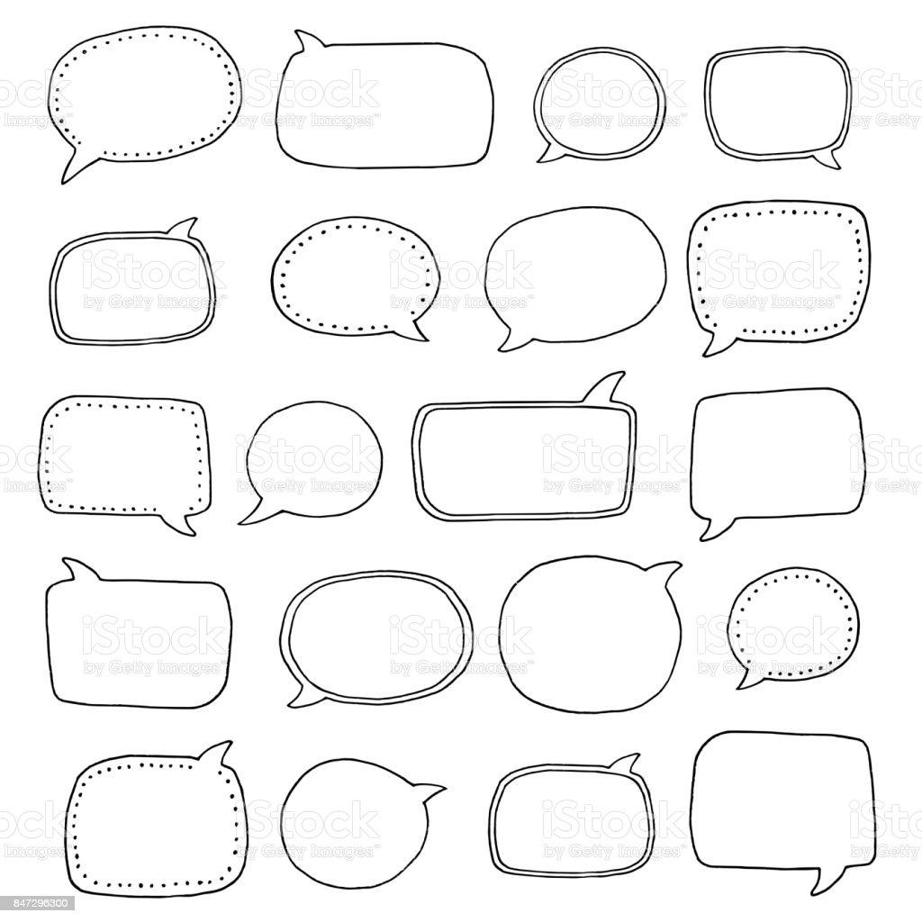 Hand drawn speech bubbles vector art illustration