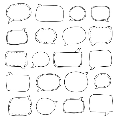 Hand Drawn Speech Bubbles Stock Illustration - Download Image Now