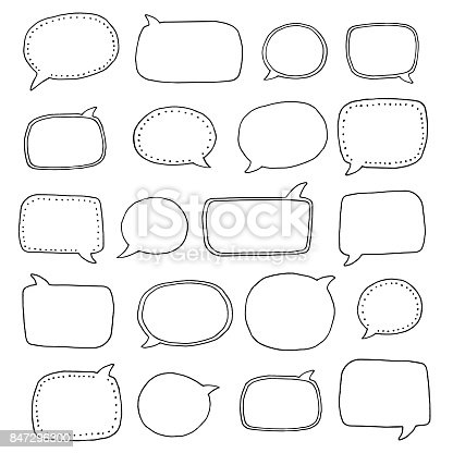 Hand Drawn Speech Bubbles Stock Vector Art & More Images of Abstract 847296300