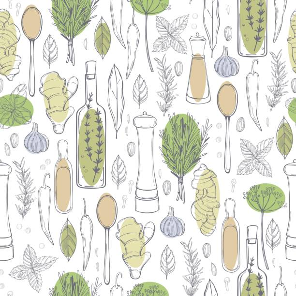 Hand drawn spices and herbs. Hand drawn spices and herbs. Vector  seamless pattern allspice stock illustrations