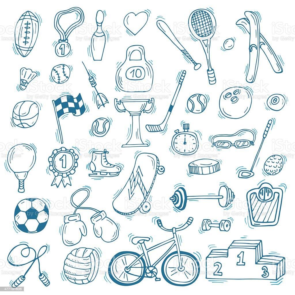 Deporte de conjunto de iconos dibujados a mano. Gimnasio y deporte. Estilo de vida saludable - ilustración de arte vectorial