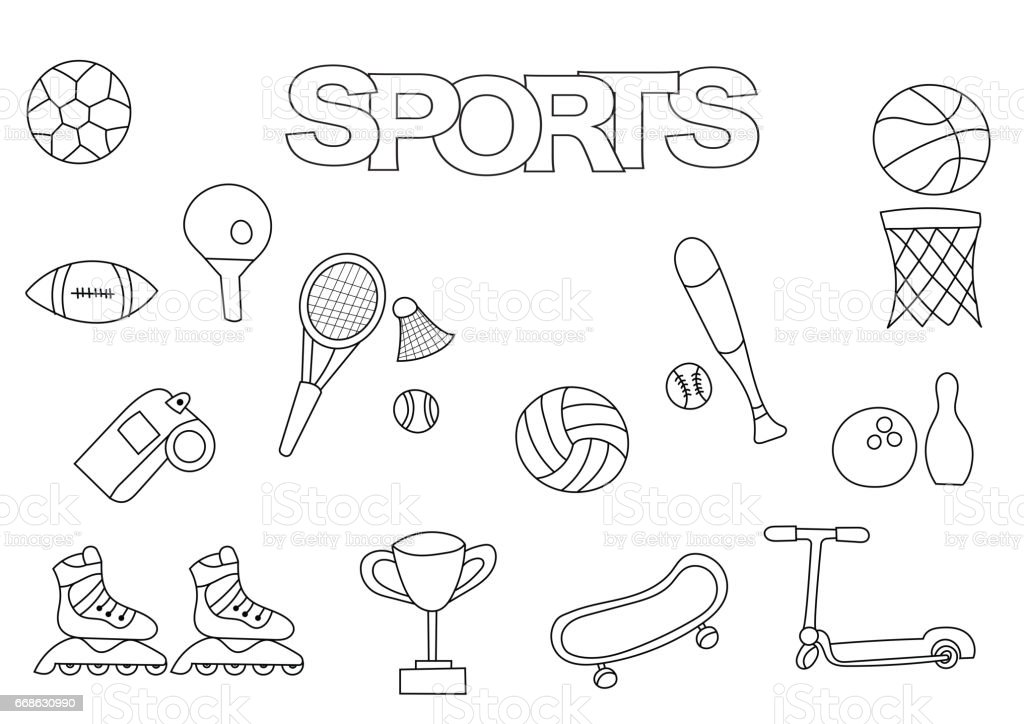 hand drawn sports set coloring book template outline doodle royalty free stock vector