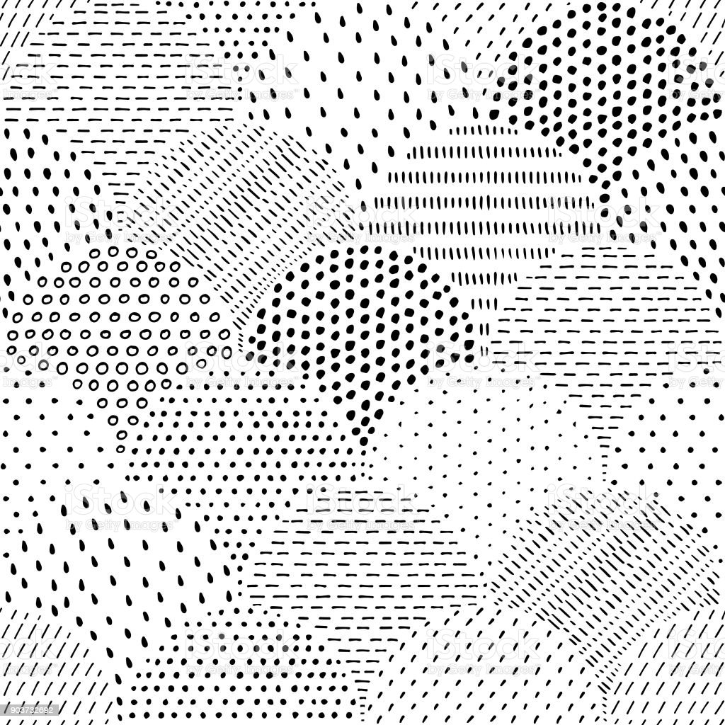 Dessinés à la main repéré modèle sans couture - Illustration vectorielle