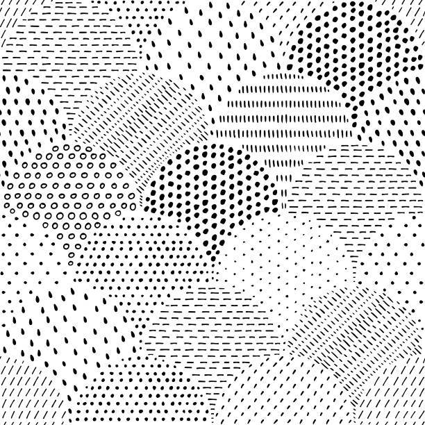 Hand drawn spotted seamless pattern vector art illustration