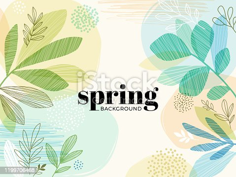istock Hand Drawn Spring Leaves Background 1199706468