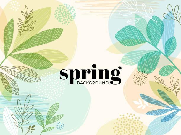 Hand Drawn Spring Leaves Background Modern hand drawn spring background with abstract leaves. spring stock illustrations