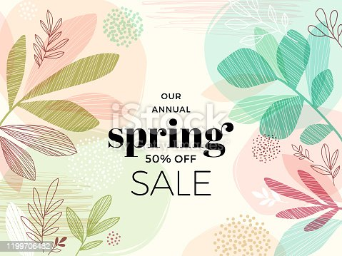 Modern hand drawn spring background with abstract leaves.