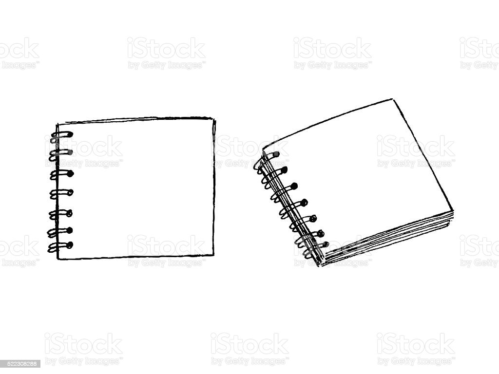 Hand drawn square notebook views vector art illustration