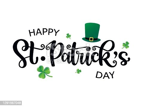 istock Hand drawn St. Patricks Day logotype. Vector lettering typography with leprechaun's hat and clovers on white background. Festive design for print, poster, flyer, party invitation, icon, badge, sign 1291567048