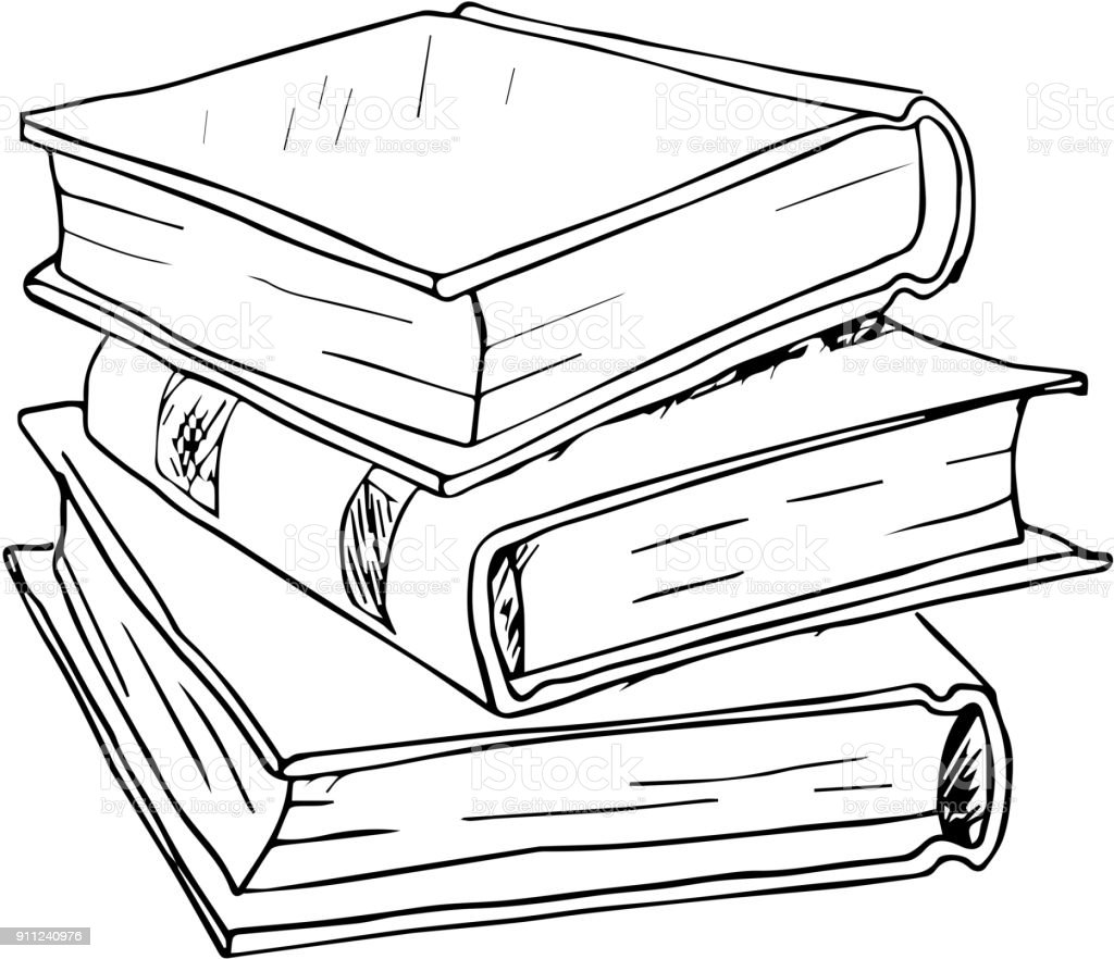 Hand Drawn Stack of Books. Vector vector art illustration