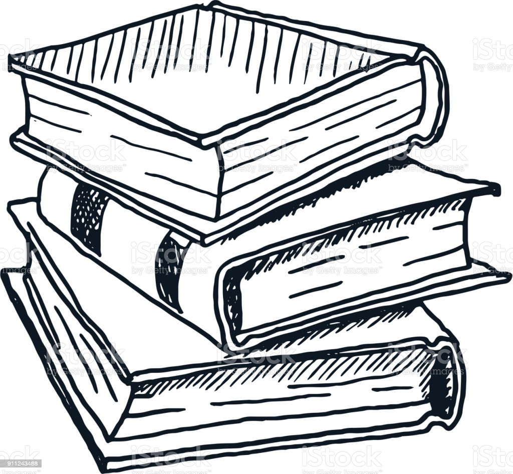 Hand Drawn Stack Of Books Vector Stock Art More Images