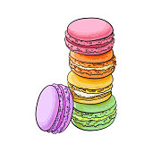 Stack of colorful macaron, macaroon almond cakes, sketch style vector illustration isolated on white background. Stack, pile of colorful almond macaron, macaroon biscuits, sweet and beautiful dessert