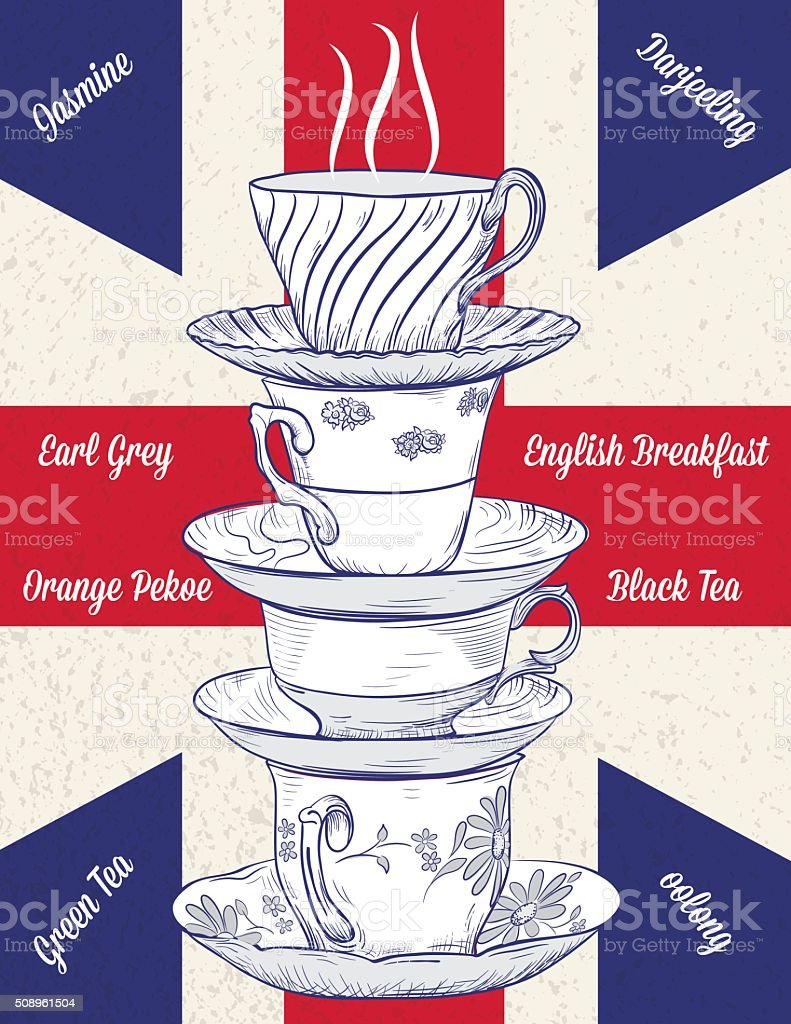Hand Drawn Stack of Tecups and British Flag vector art illustration
