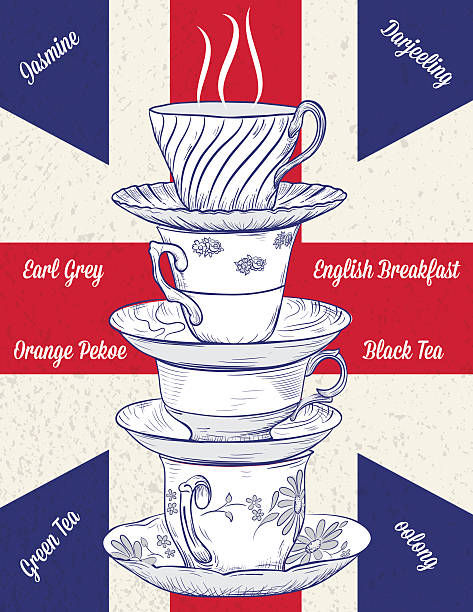 hand drawn stack of tecups and british flag - stacked tea cups stock illustrations, clip art, cartoons, & icons