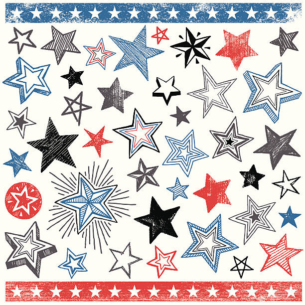 hand drawn star shape design elements - 不完整 幅插畫檔、美工圖案、卡通及圖標