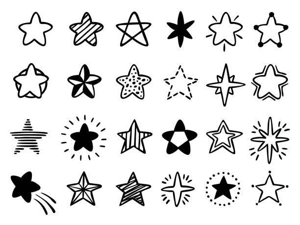 手描きの星。落書き描画スター、星空のスケッチとお気に入りスターアイコン分離ベクトルイラストセット - 星のタトゥー点のイラスト素材/クリップアート素材/マンガ素材/アイコン素材