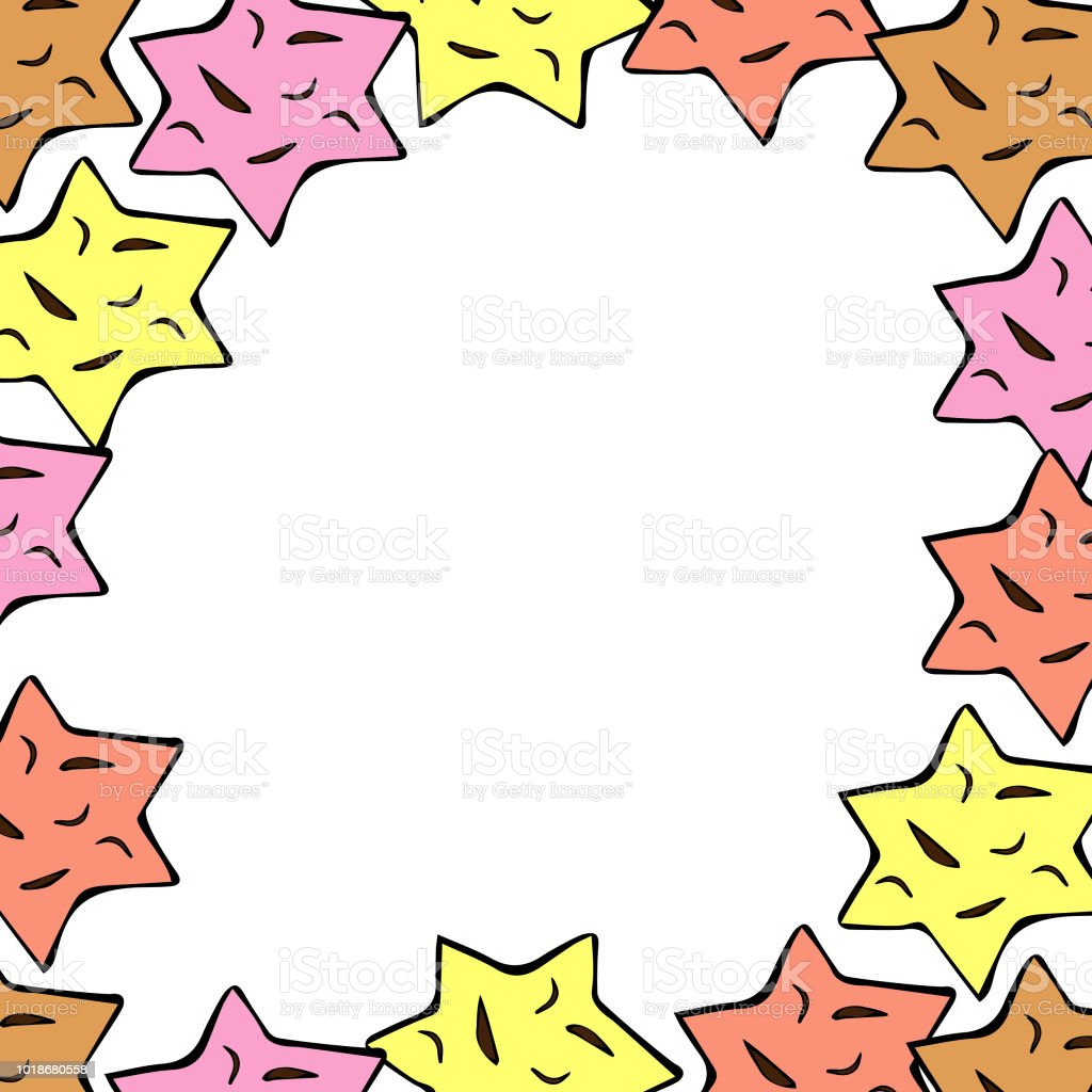 hand drawn stars frame great for wedding invitation label template
