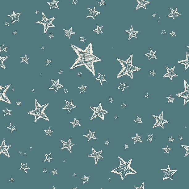 illustrazioni stock, clip art, cartoni animati e icone di tendenza di disegnati a mano con motivo a stelle - sfondo scarabocchi e fatti a mano