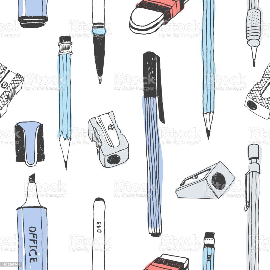 Hand Gezeichnet Briefpapier Nahtlose Muster Stock Vektor Art Und