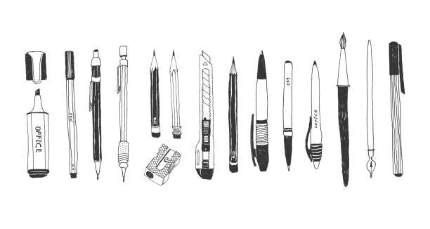 ręcznie rysowany zestaw papeterii - pióro przyrząd do pisania stock illustrations