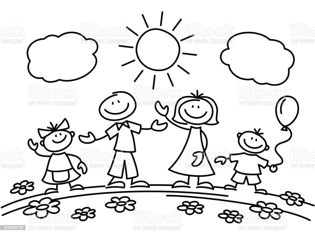 Hand drawn stick figure happy family. Vector illustration vector art illustration