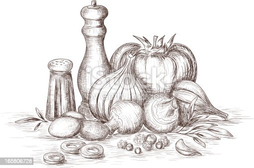 Hand drawn still life of vegetables and spices.