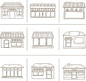 Hand drawn store icons