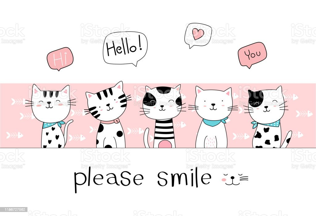 Hand Drawn Style Cute Cat Cartoon Doodle Pastel Wallpaper Stock Illustration Download Image Now Istock