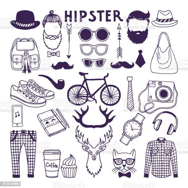 Hand drawn style doodle set of hipster elements vector illustrations vector id813048660?b=1&k=6&m=813048660&s=612x612&h=gzyys2nkrjp2oltgxspwpgyugl7wndg2wnnuors2wzw=