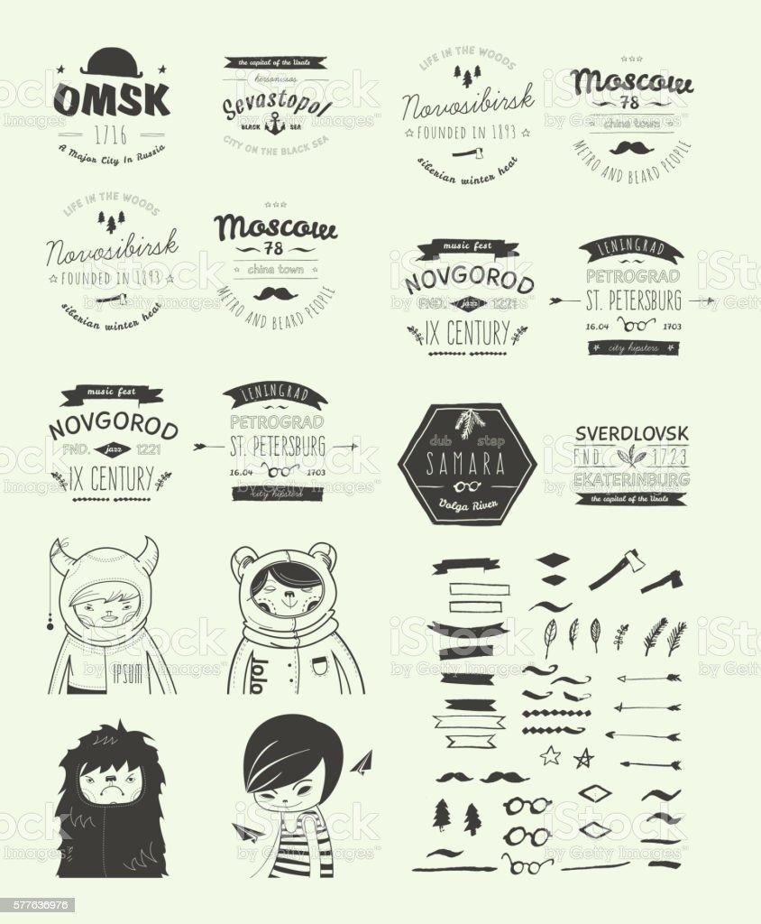 Hand Drawn Style Logos. Trendy Retro Vintage Insignias Bundle vector art illustration