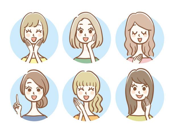 手描きスタイル女性アイコンセット - 主婦 日本人点のイラスト素材/クリップアート素材/マンガ素材/アイコン素材