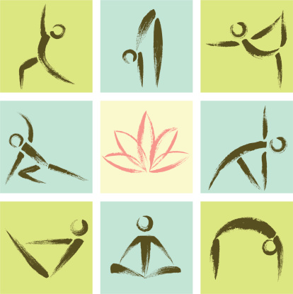 Hand Drawn Style Yoga Position Icons
