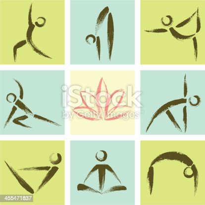 Hand Drawn Style Yoga Position Icons.