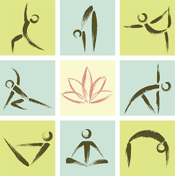hand drawn style yoga position icons - yoga stock illustrations, clip art, cartoons, & icons