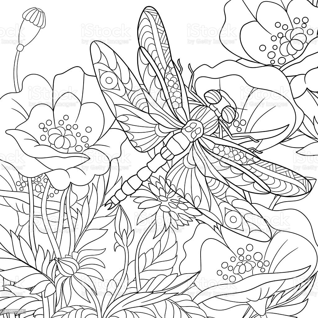 Hand drawn stylized dragonfly insect vector art illustration