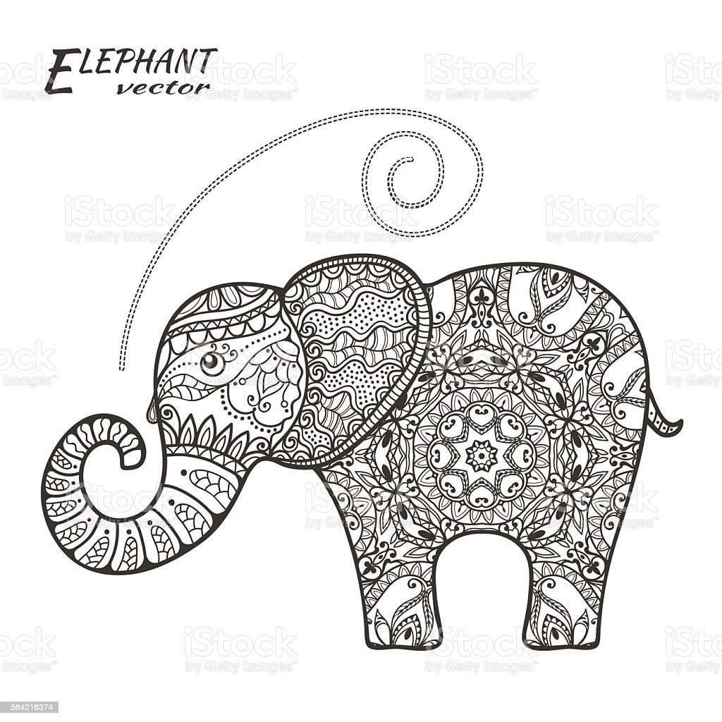 hand drawn stylized fantasy patterned elephant in stock vector art