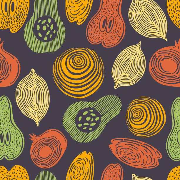 ilustraciones, imágenes clip art, dibujos animados e iconos de stock de frutos estilizados dibujados a mano. patrón vectorial. - conceptos y temas