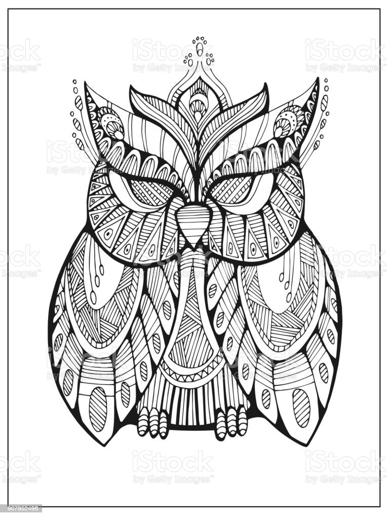 hand drawn stylized owl bird totem for adult coloring page stock rh istockphoto com Coloring Pattern Vector Vector Sonic Coloring