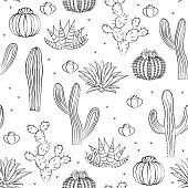 Hand drawn succulent ornament. Vector illustration. Seamless pattern with cactus.