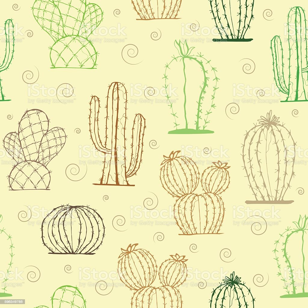 Hand drawn succulent ornament with cactus. Seamless pattern. royalty-free hand drawn succulent ornament with cactus seamless pattern stock vector art & more images of art