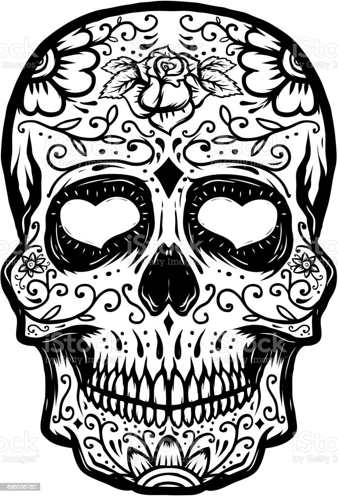 Hand drawn Sugar skull isolated on white background. Day of the dead. Design element for poster, t-shirt. Vector illustration vector art illustration