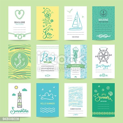 Summer holiday, sea vacation, ocean trip card, wedding flyer, party invitation, poster. Hipster collection of summertime vector templates, hand drawn design elements, marine symbols, illustrations.